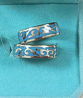 Кольца серебро ( обручальные) размеры:15; 17,5 голубая эмаль.