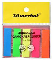 Закладки клейкие 44*12мм SILWERHOF, 5цв*20 листов, пластиковые