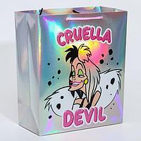 """Пакет голография горизонтальный """"Cruella Devil"""", Disney, 25 х 21 х 10 см"""