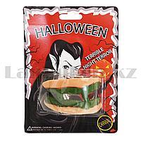Накладные зубы вампира Halloween темно-зеленые