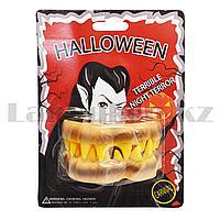 Накладные зубы монстра Halloween серый и желтый