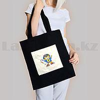 Шоппер эко сумка для покупок с карманом на молнии с плечевыми ремнями черная Мишка скейтер