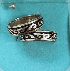 Кольца, серебро ( обручальные). размер колец: 18- 19,5 черная эмаль.
