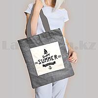 Шоппер эко сумка для покупок с карманом на молнии с плечевыми ремнями серая Enjoy Summer