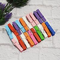 Набор декоративных прищепок деревянных 4 см 20 шт разноцветные