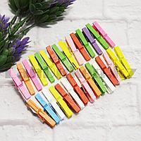 Набор декоративных прищепок деревянных 3 см 30 шт разноцветные