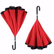 Умный зонт Наоборот, цвет красный + черный День Матери!, фото 3