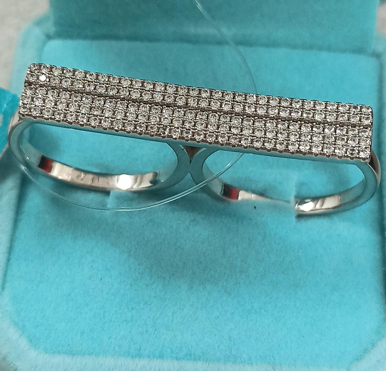 Кольцо серебро на два пальца / 17,5 размер