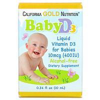 California Gold Nutrition, жидкий витамин D3 для детей, 10 мкг (400 МЕ), 10 мл