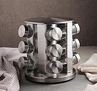 Набор для специй Профи 12 предметов 19×19×20 см цвет серебро