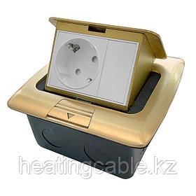 Напольный/настольный лючок на 3 модуля, металл, золото