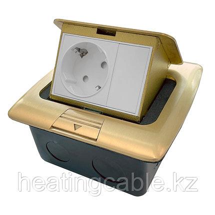 Напольный/настольный лючок на 3 модуля, металл, золото, фото 2