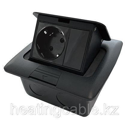 Напольный/настольный лючок на 3 модуля, металл, чёрный, фото 2