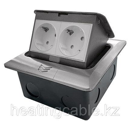 Напольный/настольный лючок на 4 модуля, металл, серебро, фото 2