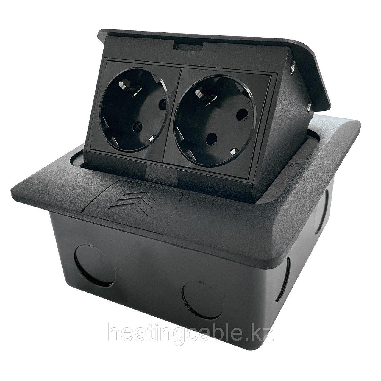 Напольный/настольный лючок на 4 модуля, металл, черный