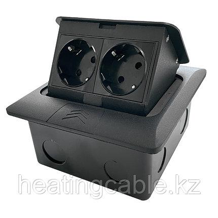 Напольный/настольный лючок на 4 модуля, металл, черный, фото 2