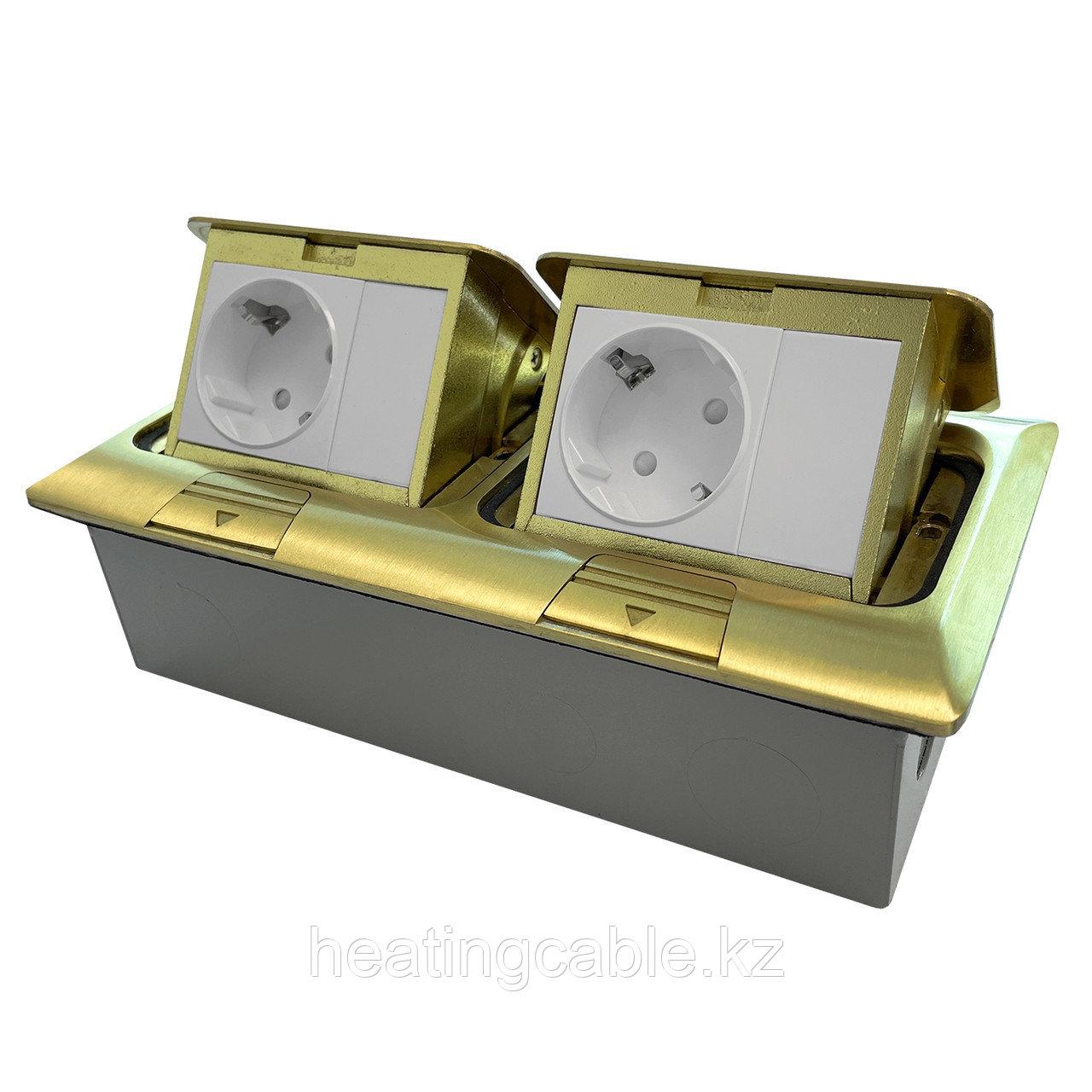 Напольный/настольный лючок на 2х3 модуля, металл, матовое золото