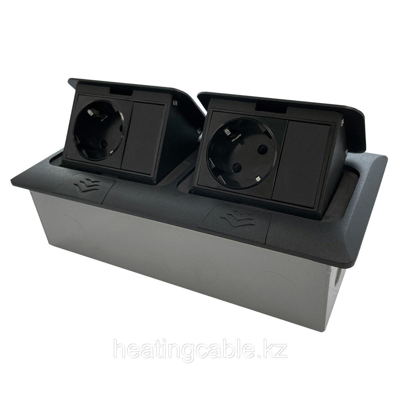 Напольный/настольный лючок на 2х3 модуля, металл, матовое черный