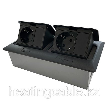Напольный/настольный лючок на 2х3 модуля, металл, матовое черный, фото 2