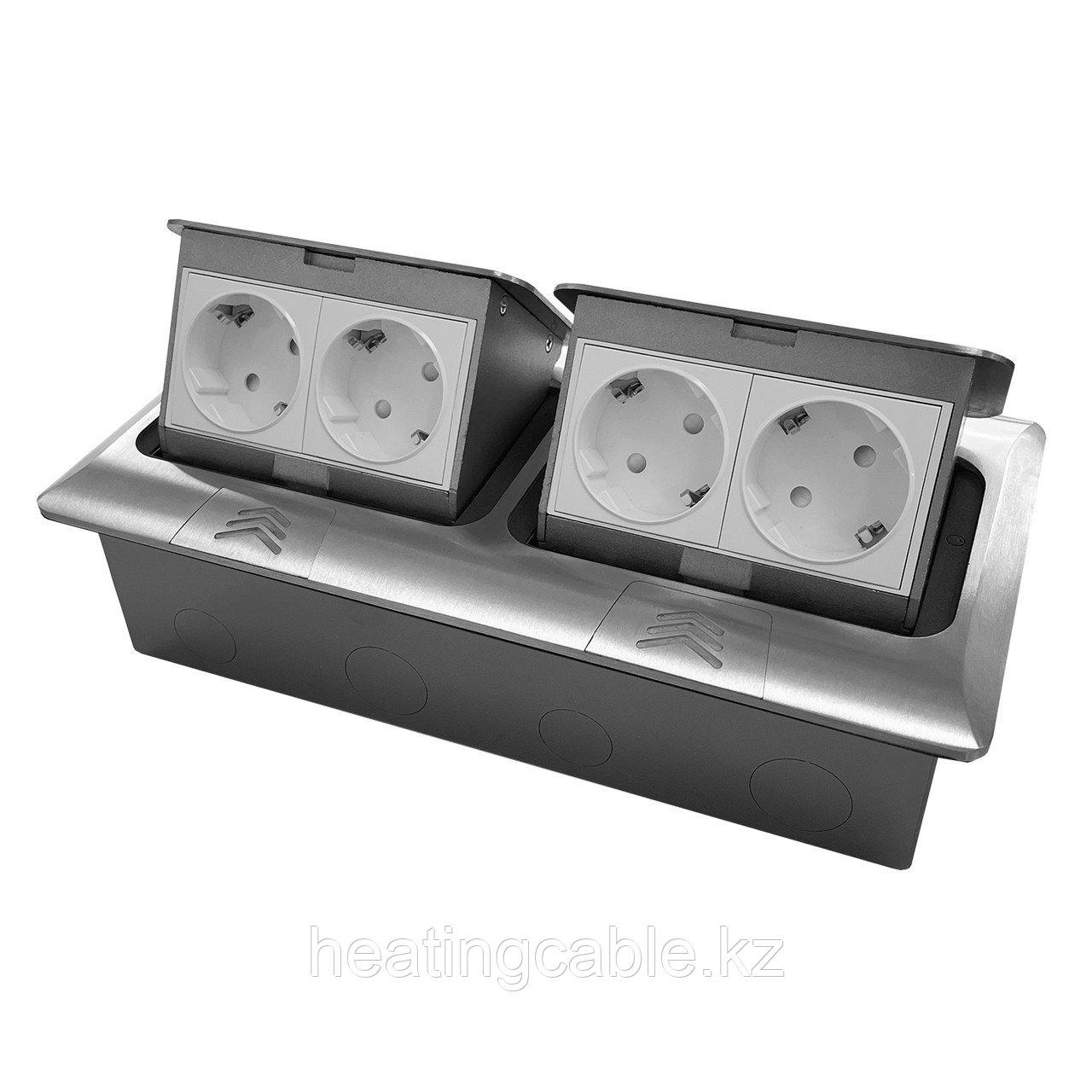 Напольный/настольный лючок на 2х4 модуля, металл, матовый хром