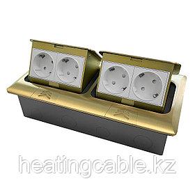 Напольный/настольный лючок на 2х4 модуля, металл, матовое золото