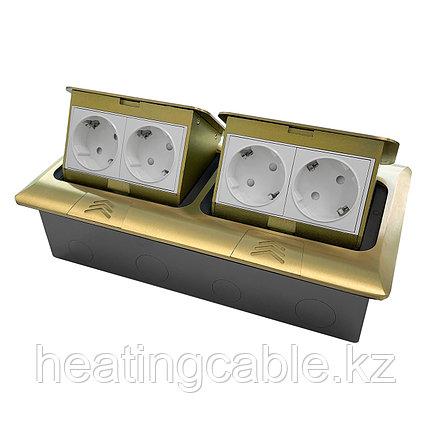 Напольный/настольный лючок на 2х4 модуля, металл, матовое золото, фото 2