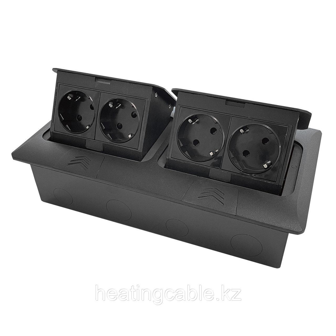 Напольный/настольный лючок на 2х4 модуля, металл, матовый черный
