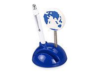 Подставка для визиток и ручки с держателем для бумаги Глобус, синий