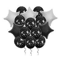 Букет из шаров 'Ночь' фольга , латекс, лента, набор 15 шт., серебряные звёзды