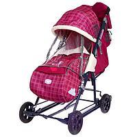 Санки-коляска «Ника детям 8-2», цвет вишневый в клетку