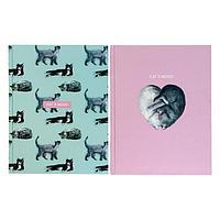 Бизнес-блокнот А5, 80 листов в клетку Cat`s mood, твёрдая обложка, матовая ламинация, выборочный лак, МИКС