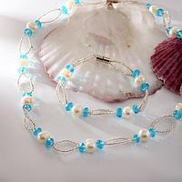 """Набор 2 предмета: бусы, браслет на магните """"Жемчуг речной"""" с бисером и хрусталём, дуо, цвет голубой"""