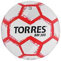 Мяч футбольный TORRES BM 300, размер 3, 28 панелей, глянцевый TPU, 2 подкладочных слой, машинная сшивка, цвет
