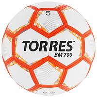 Мяч футбольный TORRES BM 700, размер 5, 32 панели, PU, гибридная сшивка, цвет бежевый/оранжевый/серый