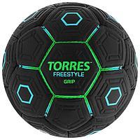 Мяч футбольный TORRES Freestyle Grip, размер 5, 32 панели, PU, ручная сшивка, цвет чёрный/зелёный/голубой