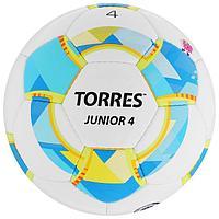 Мяч футбольный TORRES Junior-4, размер 4, вес 310-330 г, глянцевый ПУ, 3 слоя, 32 панели, ручная сшивка, цвет