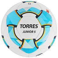 Мяч футбольный TORRES Junior-5, размер 5, вес 390-410 г, глянцевый ПУ, 3 слоя, 32 панели, ручная сшивка, цвет