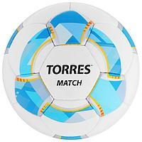 Мяч футбольный TORRES Match, размер 4, 32 панели, PU, 4 подкладочных слоя, ручная сшивка, цвет