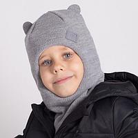 Шапка-шлем для мальчика, цвет серый, размер 50-54
