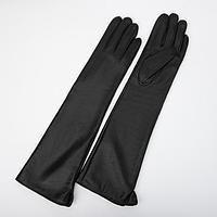 Перчатки жен, р.7, 47 см, высокие, иск кожа, без утеплителя, черный