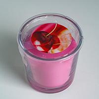 Ароматическая свеча в стакане СИНЛИГ, вишня, 7,5 см, 25 ч, фуксия