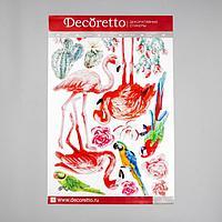 """Наклейки Decoretto """"Акварельные птицы с кактусом"""" 50х70 см (набор 2 листа)"""