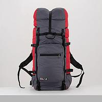 Рюкзак туристический, 100 л, отдел на шнурке, наружный карман, цвет серый/красный