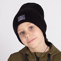 Двухслойная шапка для мальчика, цвет черный, размер 54-58