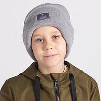Двухслойная шапка для мальчика, цвет серый, размер 54-58