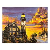 Роспись по холсту «Маяк на закате» по номерам с красками по 3 мл+ кисти+инстр+крепеж, 30×40 см