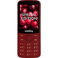 """Сотовый телефон Nobby 220, 2.4"""", 32Мб, microSD, 0.3Мп, 2sim, Bt, 1000мАч, вишневый"""