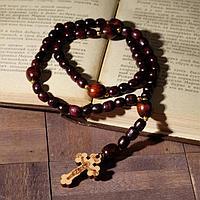 Чётки деревянные 'Православные' 50 бусины через шарик, с крестиком, цвет коричневый