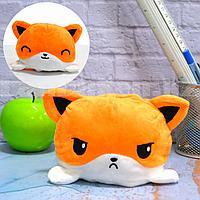 Мягкая игрушка перевертыш с улыбающимся и хмурящимся лицом лиса