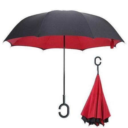 Умный зонт Наоборот, цвет красный + черный День Матери!, фото 2
